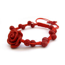 Rose Flower Red Colophony Tibet Buddhist Prayer Beads Mala Bracelet