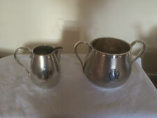 LOVELY SILVER PLATED SUGAR BOWL AND CREAM JUG WITH A BLANK CARTOUCHE