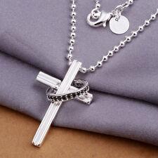 Damenhalskette Anhänger Kreuz Ring 45cm pl. mit  Sterlingsilber