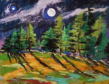 ORIGINAL Moon Nocturne Pastel Painting JMW art John Williams Impressionism scene