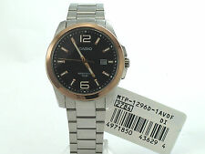 CASIO MTP1296D-1A STANDARD ANALOG DATE STAINLESS STEEL BRACELET BLACK DIAL