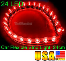 US Ship For Car 24 Led Flexible Strip Red Light Bulbs Waterproof 12V 24cm Neon
