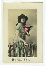 c 1912 French Lady YOUNG BEAUTY tinted photo postcard