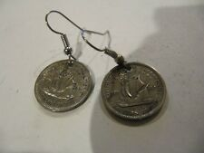 ORIGINAL HANDMADE BRITISH CARRIBEAN 10 CENT 1950S COIN EARRINGS VERY NICE!