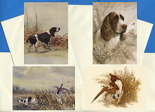 English Springer Spaniel 4 Pack Vintage Style Dog Print Greetings Note Cards #1