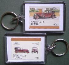 1930 Renault Reinstella Car Stamp Keyring (Auto 100 Automobile)