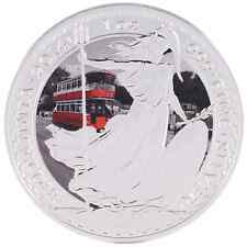 2014 1oz Ounce Silver Britannia Coin .999 Double Decker Tram Theme