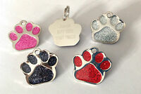 Pet ID Dog Tag 27mm Quality Reflective Glitter Dog Paw Design FREE ENGRAVING