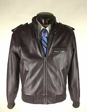 Members Only Leather Jacket Size 40 Brown Cafe Racer Racing  Motorcycle Vintage