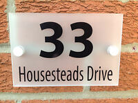 MODERN HOUSE NUMBER SIGN/PLAQUE - QUALITY FROSTED ACRYLIC + ALUMINIUM FITTINGS