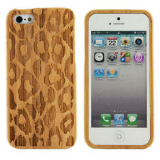 Apple iPhone 5 Genuine Bamboo Case Engraved Leopard Print Cover Natural Wood New