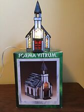 Forma Vitrum Community Church Lighted Stained Glass House in Box