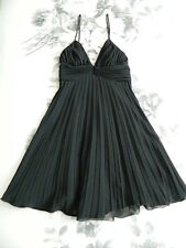 George Evening Black Georgette Pleated Cocktail Dress Size 8