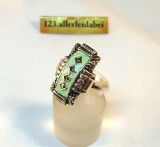 alter Emaille Ring 835 Silber old silver enamel ring Email Emaile / AX 531
