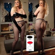 Queen Size Lot of 3 Pairs Black Red & White Fishnet Pantyhose Lingerie SOH-90242