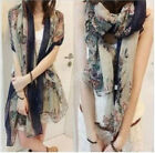 New winter Womens Lady flowers voile Soft Long Shawl Scarf Wraps Stole Neck 34f