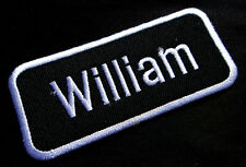 NAME TAG WILLIAM Embroidered Iron on Patch Free Postage