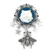 Steampunk Cat & Bumblebee Star Charm Cameo Brooch - Silver Tone - New & Handmade