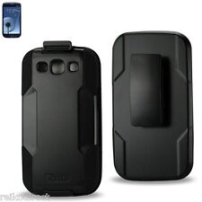 Samsung Galaxy S3 Heavy Duty Drop Proof Hybrid Holster Combo Case with Belt Clip