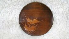 Beautiful Carved Wooden Plate with Flower Design, Decorative Collectible