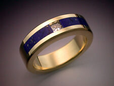 18k gold mans ring with Diamond and Lapis
