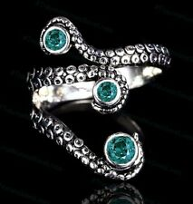 OCTOPUS TENTACLE RING ADJUSTABLE STAINLESS STEEL SILVER STEAMPUNK w/ 3 AQUA GEMS
