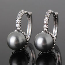 Perfect Match 18k White Gold Filled & Black Pearl Women Earrings Studs Jewelry