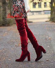 BLOGGERS FAV! ZARA BURGUNDY VELVET OVER THE KNEES HIGH HEEL BOOTS, UK 5 / EUR 38