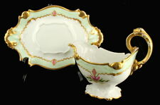 ANTIQUE SIGNED LIMOGES HAND PAINTED GRAVY BOAT & UNDERLINER ROCOCO STYLE FUCHSIA