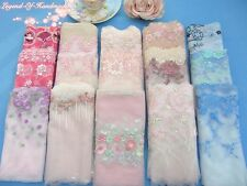 LOT~30Y~Assorted Embroidered Tulle Lace Trim~Pink/Blue/White~Group 28~SALE~