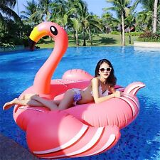 "Swimming Pool Inflatable Giant 75"" Rideable Pink Flamingo Float Toy Summer Beach"