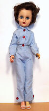 """Vintage 14R Fashion Doll - 20"""", Dark Hair, Jointed Waist - 2 pc Blue Outfit"""