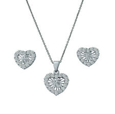 925 Sterling Silver Cz Heart Sweet 15 Quinceanera Earrings & Pendant Necklace
