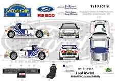FFSMC Productions Decals 1/18 Ford RS 200 Rally from / of Sweden Swedish 1986