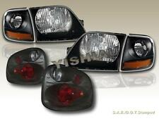 01-03 FORD F 150 SVT SUPER CREW HEADLIGHTS BLK / CORNER/ TAIL LIGHTS SMOKE