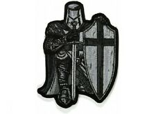 "(H21) BLACK & WHITE CRUSADER KNIGHT 3.25"" x 4.5""  sew / iron on patch (5111)"