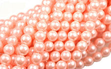 75 Coral Blush Pink Czech Glass Round Pearl Beads 6MM
