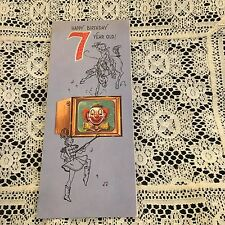 Vintage Greeting Card 7th Birthday Clown Cowboy Rust Craft