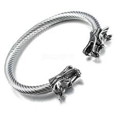 Silver Stainless Steel Dragon Head End Cable Wire Cuff Bangle Men Bracelet Gift