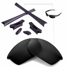 Walleva Polarized Black Replacement Lenses And Rubber Kit For Oakley Flak Jacket