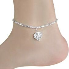 Silver Sparkly Bling Diamanté Barefoot Sandal Beach Charm Anklet jewellery