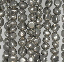 8X4MM  IRON PYRITE GEMSTONE NUGGET GRANULE PEBBLE LOOSE BEADS 16""