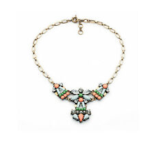 Exquiste Anthropolo​​gie Mirta Abstract Flower Green Orange Blue Bead Necklace