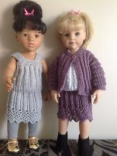 "Dolls clothes knitting  pattern. 18/19"" doll. Lace edged skirt, top and jacket"