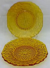 INDIANA GLASS crystal PINEAPPLE & FLORAL Amber Two (2) Bread Plates - 6""