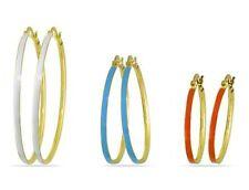 Amour Three-piece Multi-Colored Enamel Hoop Earrings 3pcs Set White Blue Orange