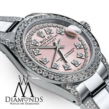 Women's 26mm Rolex s/s Oyster Perpetual Datejust Custom Diamonds Vintage Dial