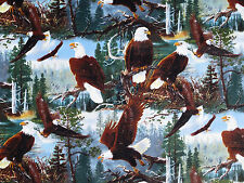 FAT QUARTER BALD EAGLES SOARING WILDLIFE AMERICAN BIRD EAGLE 100% COTTON FABRIC