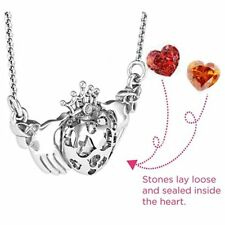 Crown Caged Hearts Claddagh Pendant Birthstone Love Charm Stone Locket Necklace