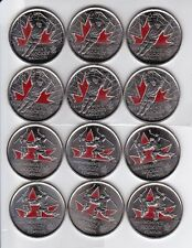 2009 CANADA COLORED QUARTER,  LOT OF 12 COINS ( LIGHTLY CIRCULATED )